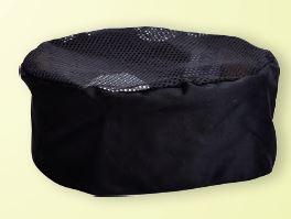 GLOBAL CHEF-MESH FLAT TOP HAT - BLACK - REG
