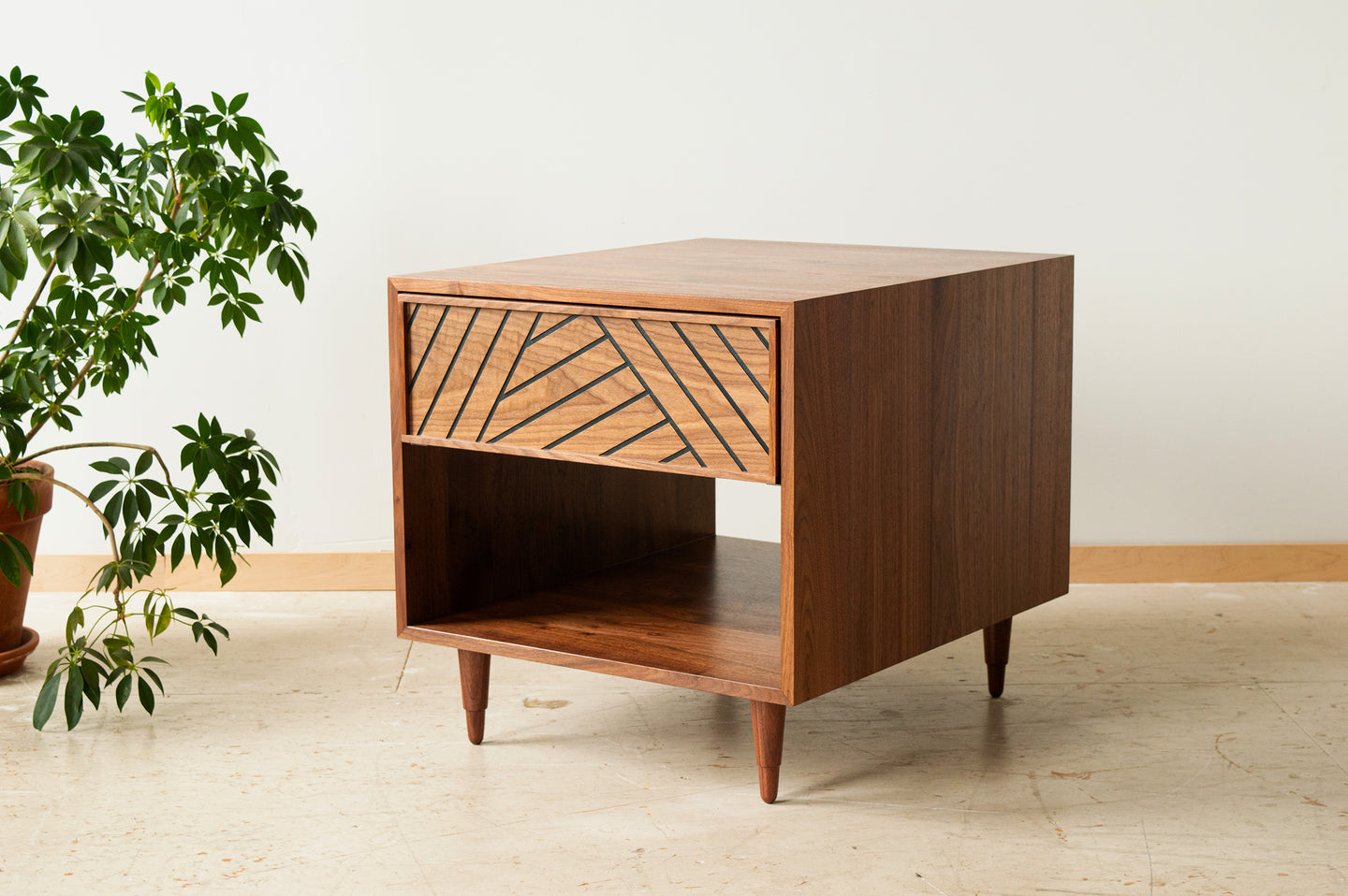 SLW Side Table - modern walnut side table & nightstand