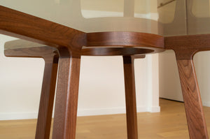 Walnut & Glass Round Dining Table | Pedestal Table