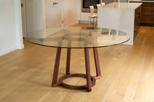 Load image into Gallery viewer, Walnut & Glass Round Dining Table | Pedestal Table