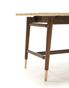 Feodor Side Table | walnut end table with stone top