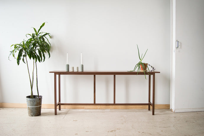 Minimalist Sofa Table | walnut entry hallway table