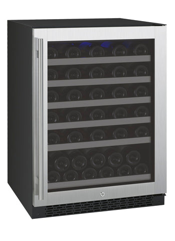 "24"" Wide FlexCount II Tru-Vino 56 Bottle Single Zone Stainless Steel Right Hinge Wine Refrigerator"