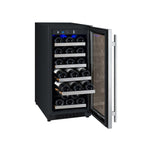 "15"" Wide FlexCount 30 Bottle Single Zone Stainless Steel Right Hinge Wine Refrigerator"