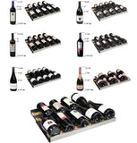 "24"" Wide FlexCount 56 Bottle Single Zone Stainless Steel Left Hinge Wine Refrigerator"