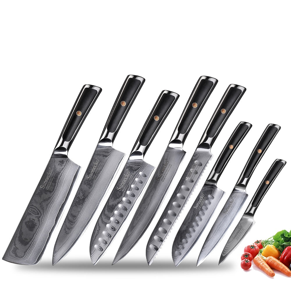 Professional 8 Piece Damascus Steel Kitchen Knife Set