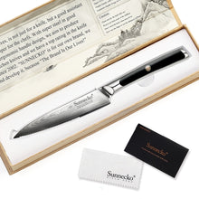 "Load image into Gallery viewer, SUNNECKO 5"" Damascus VG10 Steel Steak Knife W/Gift Box - KJ Cutlery"