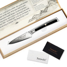 "Load image into Gallery viewer, SUNNECKO 3.5"" Damascus VG10 Steel Fruit Paring Knife W/Gift Box - KJ Cutlery"