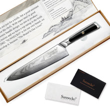 "Load image into Gallery viewer, SUNNECKO Professional 8"" VG10 Damascus Steel Chef Knife W/Gift Box - KJ Cutlery"