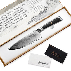 "SUNNECKO 6.5"" Damascus VG10 Steel Chef's Knife W/Gift Box - KJ Cutlery"