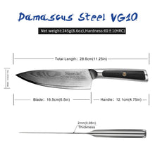 "Load image into Gallery viewer, SUNNECKO 6.5"" Damascus VG10 Steel Chef's Knife W/Gift Box - KJ Cutlery"