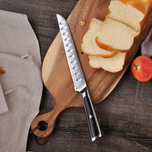 "Load image into Gallery viewer, SUNNECKO 8"" Damascus VG10 Steel Bread Knife W/Gift Box - KJ Cutlery"