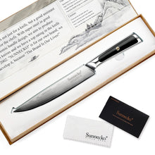 "Load image into Gallery viewer, SUNNECKO 8"" Damascus VG10 Steel Slicing Knife W/Gift Box - KJ Cutlery"