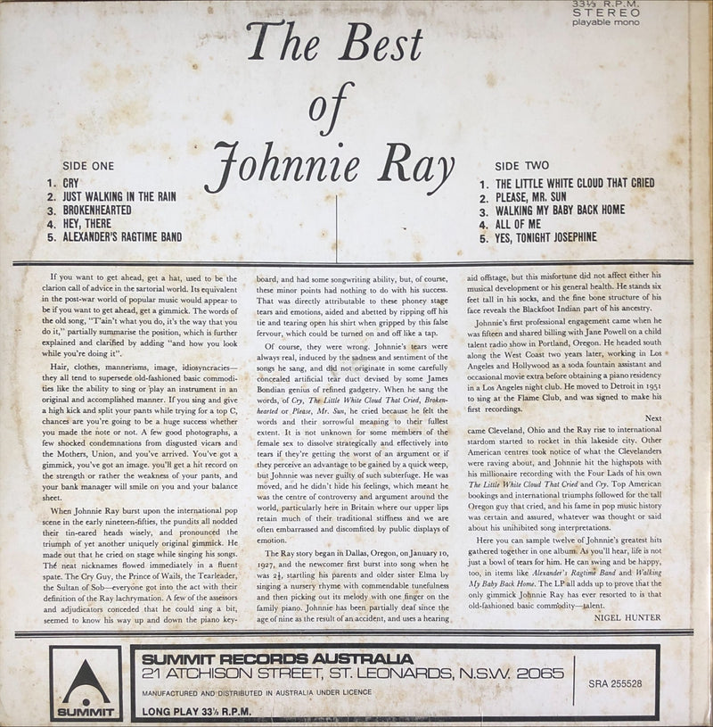 Johnnie Ray - The Best Of Johnnie Ray