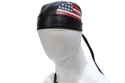 Genuine Leather Motorcycle Skull Cap with American Flag on sides.