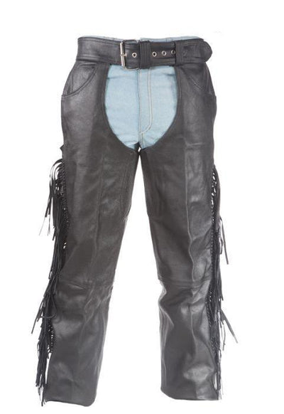 Motorcycle leather chaps with braid & fringe