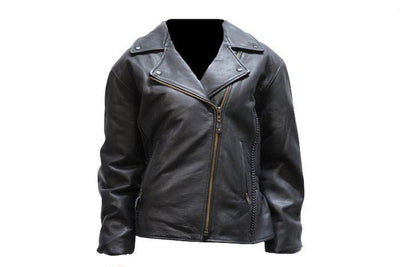 front view. Leather Motorcycle Jacket