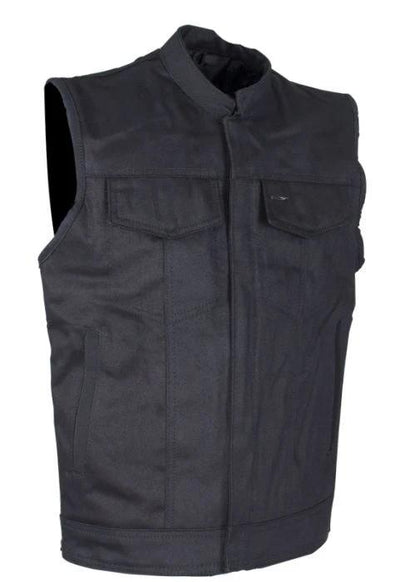 Front View of Classic Black Denim Concealed to Carry Motorcycle Vest