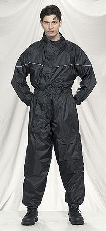Front view black motorcycle rain suit with reflector on front and back.