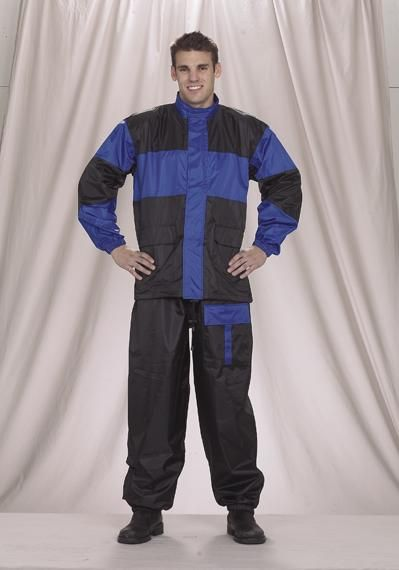 Front view of 2 piece motorcycle rain suit. Blue with reflector buttons.