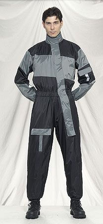 Front view of 1 piece gray motorcycle rain suit.