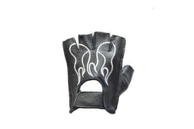 Motorcycle Riding Fingerless Gloves with White Flames
