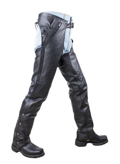 Side view. Leather motorcycle chaps