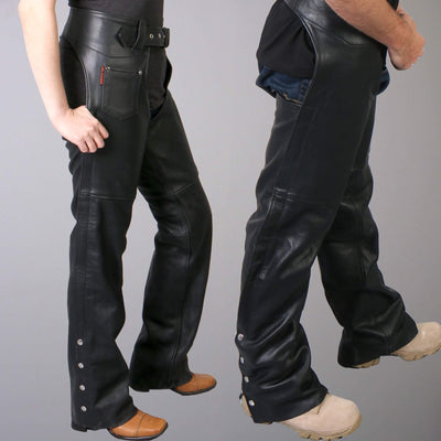Side view. Leather Unisex Motorcycle Chaps