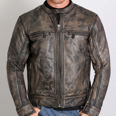 Front view. Brown Distressed Leather Jacket