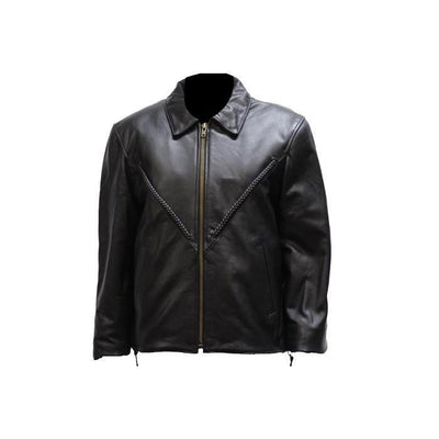 front view. Women's leather jacket