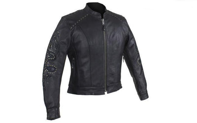 Front view. Women's embroidery leather motorcycle jacket