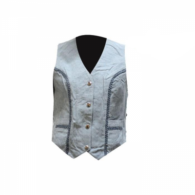 Women's Denim looking leather vest