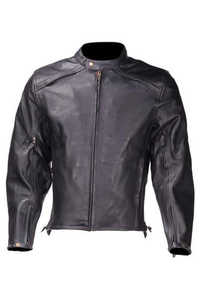 Front view. Men's Black Racer Style leather jacket