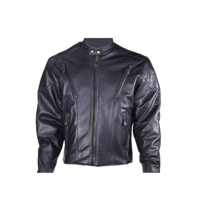 Front View. Men's Black Leather Racer Jacket.