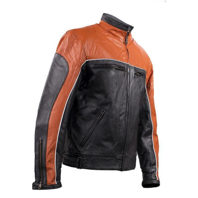 Classic Black and Orange Racer Jacket with reflective piping