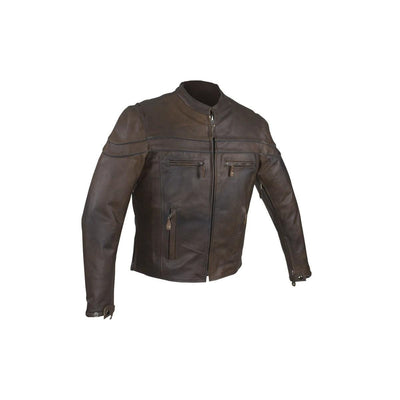 Front View. Brown concealed to carry Motorcycle Jacket.l