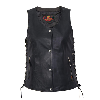 Ladies Black Lambskin leather vest with side laces