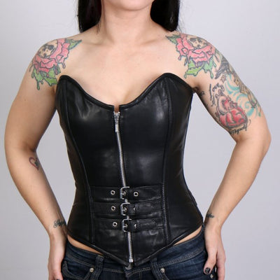 Front view of sexy ladies biker leather corset