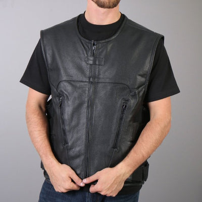 Men's motorcycle leather concealed to vest