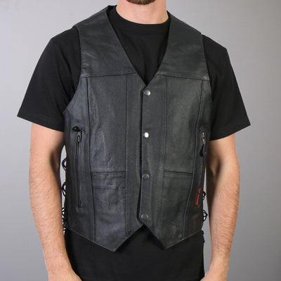 Front view. Leather riding motorcycle vest.