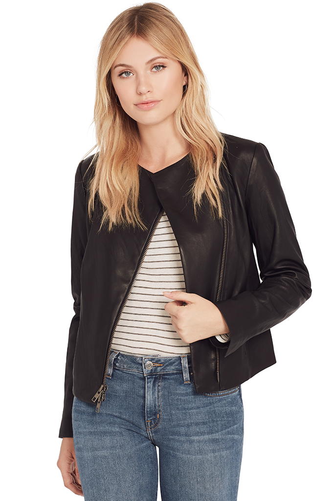 Leather Cross Front Jacket