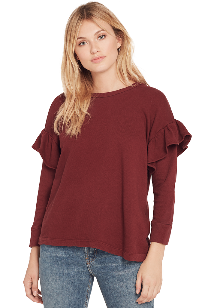 The Ruffle Sweatshirt (Cabernet)