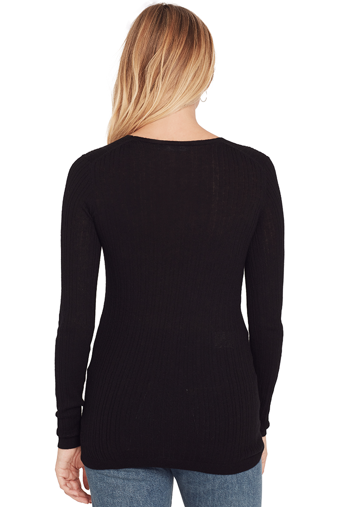 Mixed Rib V Neck Sweater