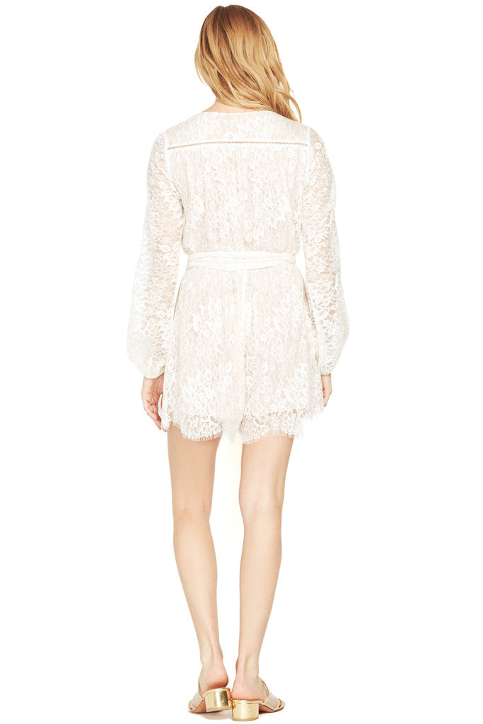 LOVESHACKFANCY | Bowie White Lace Romper Playsuit at Shopatmilk.com - Milk Boutique Los Angeles | FREE DOMESTIC SHIPPING. Buy LOVESHACKFANCY Online