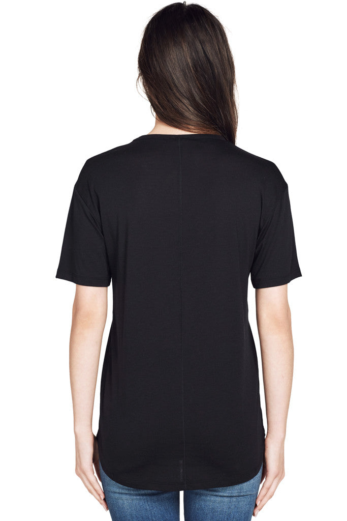 Joseph | S/S Round Black Lightweight Knit Crewneck Tee in Black at Shopatmilk.com - Milk Boutique Los Angeles | FREE DOMESTIC SHIPPING. Buy Joseph Online