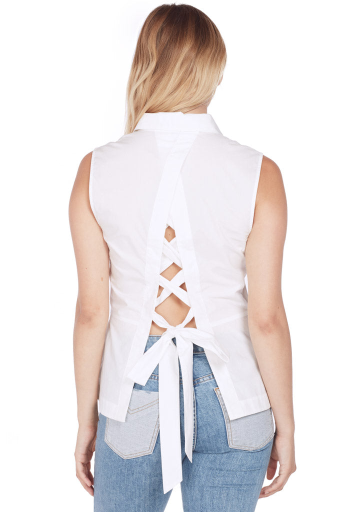Button Down Shirt w Lace Up Back (White)