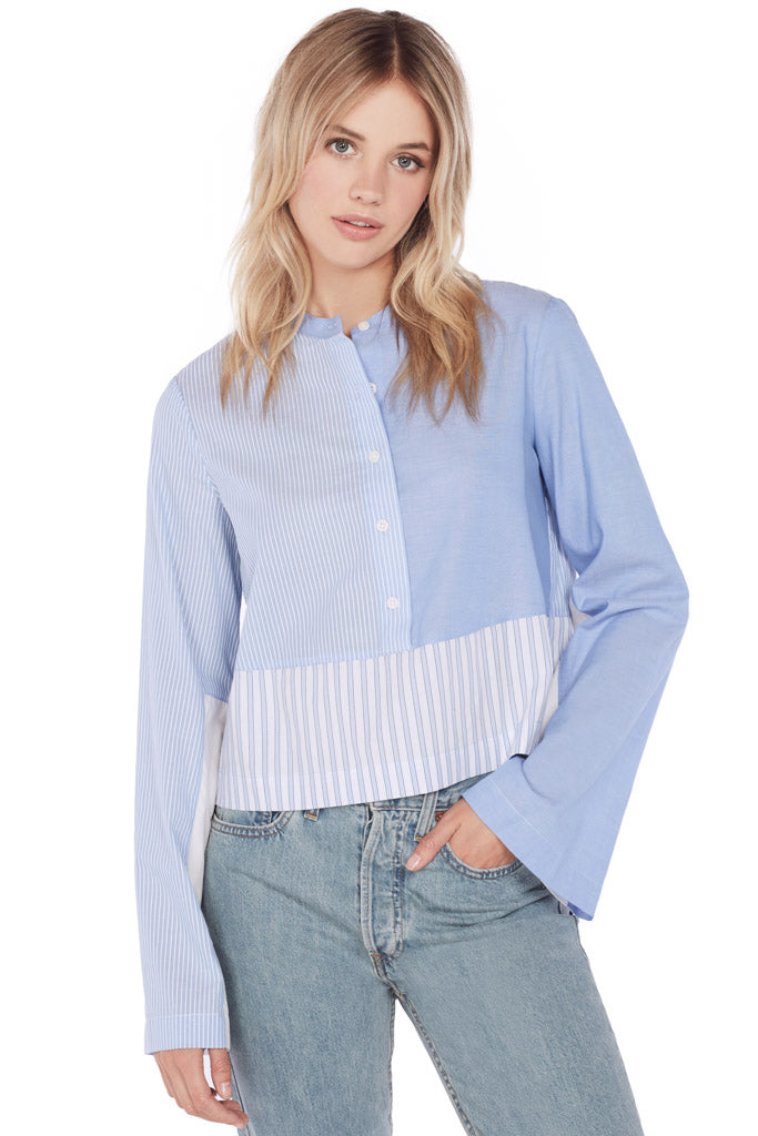 L/S Mixed Button Down Shirt