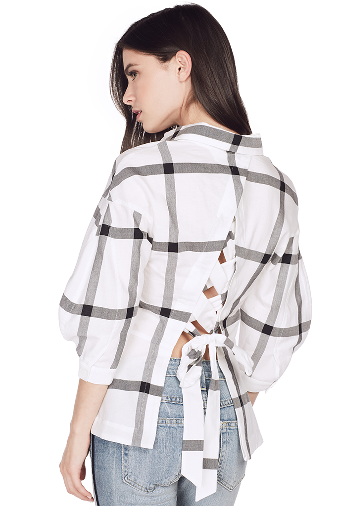 L/S Button Down Shirt w/ Lace Up Back (White)
