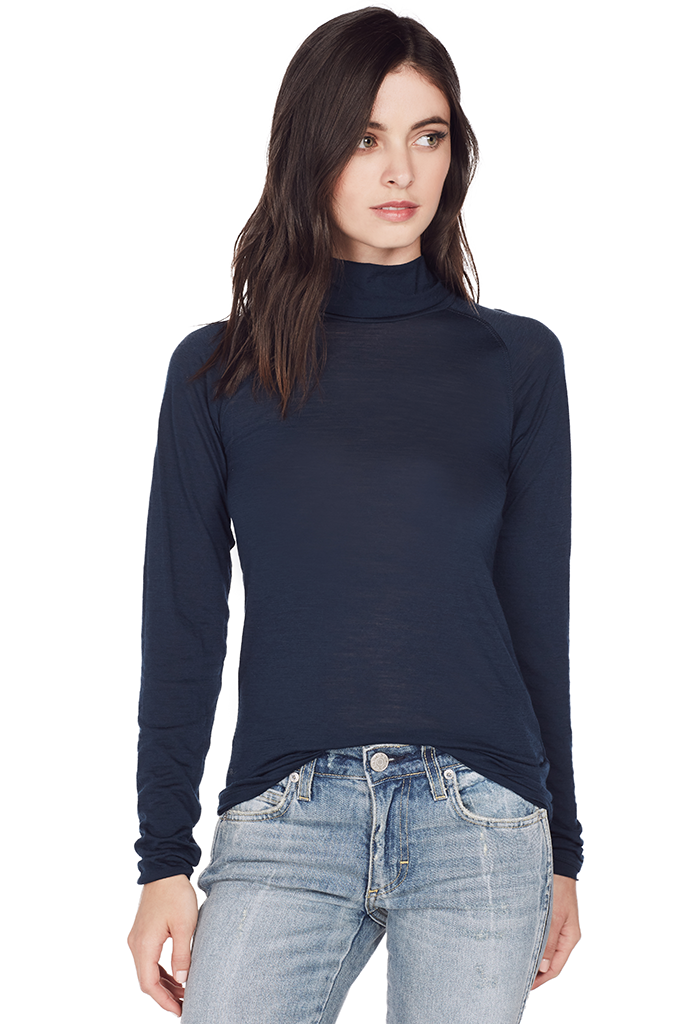 Ribbed Turtleneck T Shirt