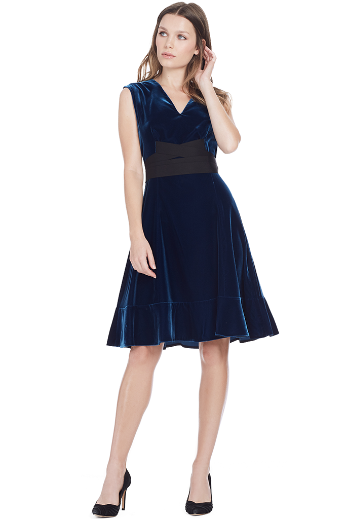 S/L Belted Fit and Flare Dress